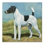 """Smooth Fox Terrier Square Car Magnet 3"""" x 3"""""""