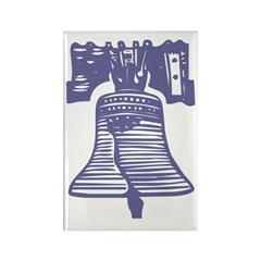 Blue Liberty Bell Rectangle Magnet (100 pack)