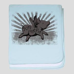 2019 Year Pig baby blanket