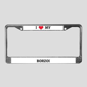 I Love (Heart) My Borzoi License Plate Frame
