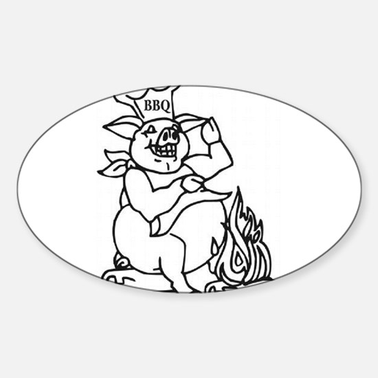 Swine BBQ Oval Decal