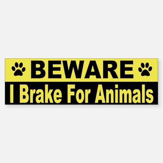 I Brake For Animals Bumper Car Car Sticker