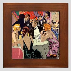 Vintage Cocktail Party Framed Tile