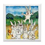 Bunny Rabbits Jump Tile Coaster