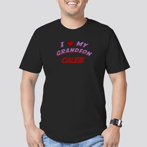 I Love My Grandson Caleb Men's Fitted T-Shirt (dar