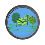 Groovy Blue Trees Wall Clock