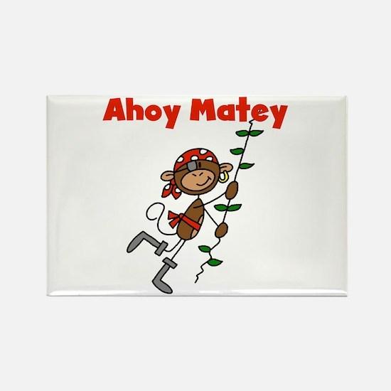 Monkey Ahoy Matey Rectangle Magnet