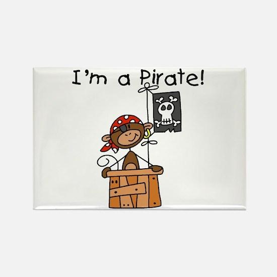Monkey I'm a Pirate Rectangle Magnet