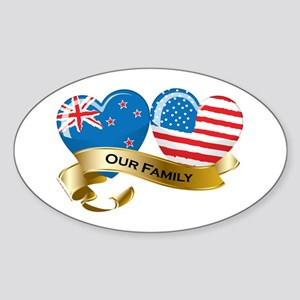 New Zealand/USA Flag_Our Family Oval Sticker