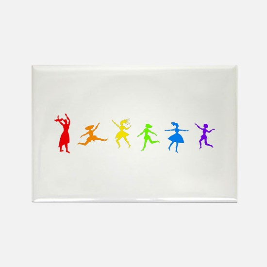 Rainbow Dancers Rectangle Magnet