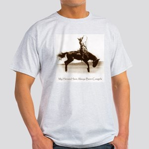 Cowgirl Hero antiqued image Ash Grey T-Shirt