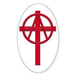 Anarchist Crucifix Oval Sticker