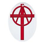 Anarchist Crucifix Oval Ornament