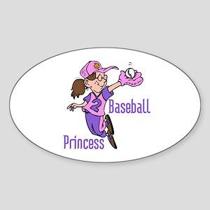 Baseball Princess Oval Sticker