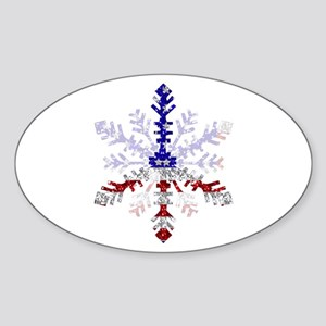 Peace Sign Snowflake Oval Sticker