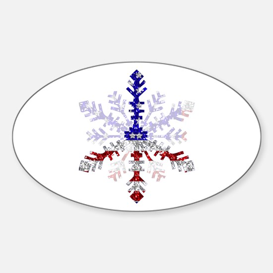 Peace Sign Snowflake Oval Decal