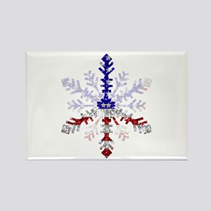 Peace Sign Snowflake Rectangle Magnet