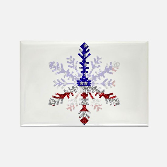 Peace Sign Snowflake Rectangle Magnet (10 pack)