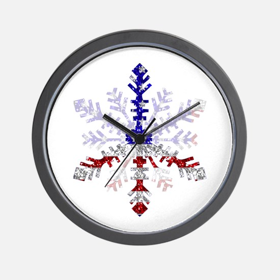 Peace Sign Snowflake Wall Clock