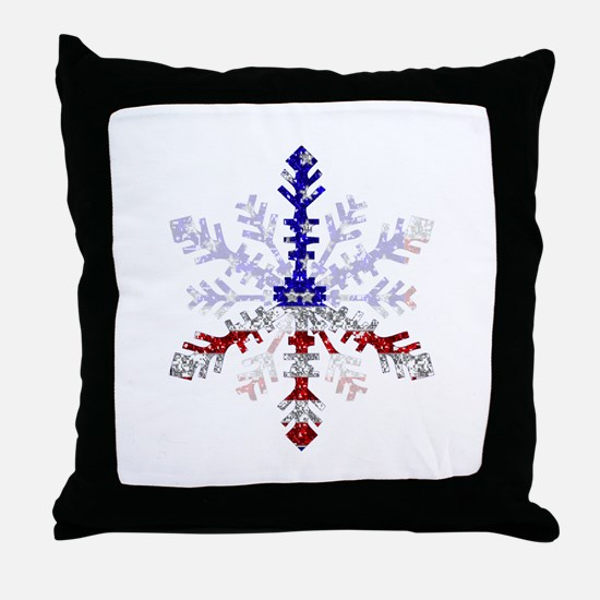 Peace Sign Snowflake Throw Pillow