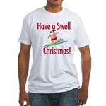 Santa Surfing Fitted T-Shirt