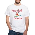 Santa Surfing White T-Shirt