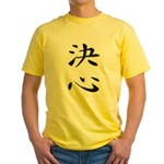 Determination - Kanji Symbol Yellow T-Shirt