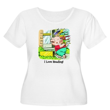 I love Reading, Pig Women's Plus Size Scoop Neck T