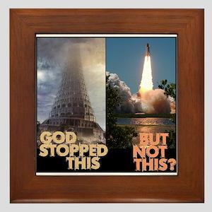Atheist Tower of Babel NASA Framed Tile