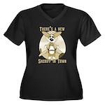 Sheriff Corgi Women's Plus Size V-Neck Dark T-Shir