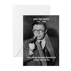 Existentialist Jean-Paul Sartre Greeting Cards (Pa