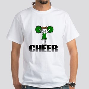 Green Cheerleading White T-Shirt