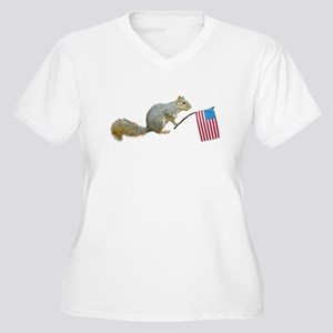 Squirrel with American Flag Women's Plus Size V-Ne