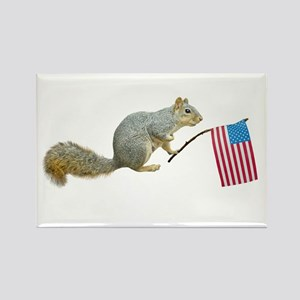 Squirrel with American Flag Rectangle Magnet