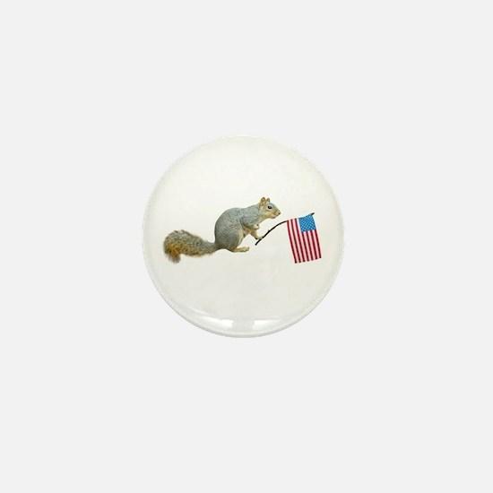 Squirrel with American Flag Mini Button