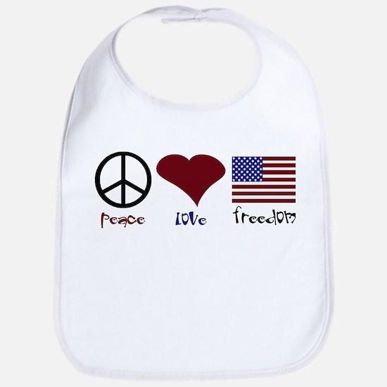 PEace Love Freedom Bib