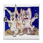 Full Moon Rabbits Tile Coaster