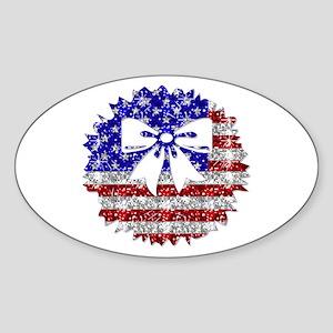 USA Wreath Oval Sticker