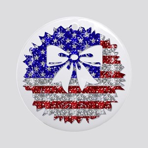 USA Wreath Ornament (Round)