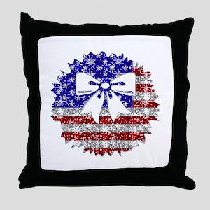USA Wreath Throw Pillow