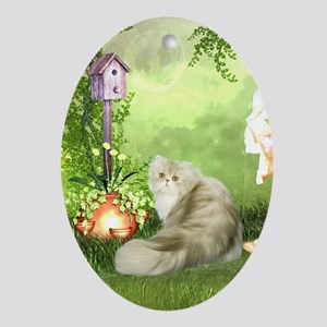 Cute cat in a fantasy garden Oval Ornament