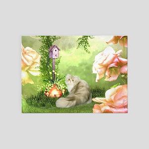 Cute cat in a fantasy garden 5'x7'Area Rug