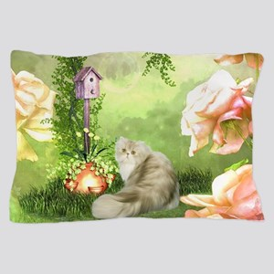 Cute cat in a fantasy garden Pillow Case