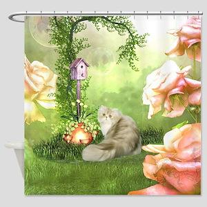 Cute cat in a fantasy garden Shower Curtain