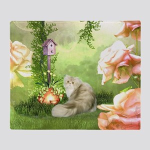 Cute cat in a fantasy garden Throw Blanket