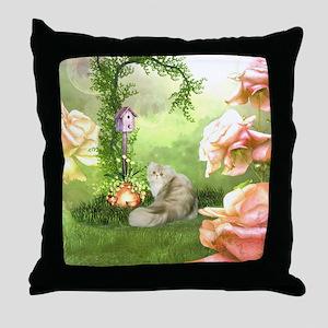 Cute cat in a fantasy garden Throw Pillow