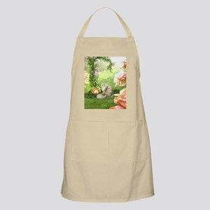 Cute cat in a fantasy garden Light Apron