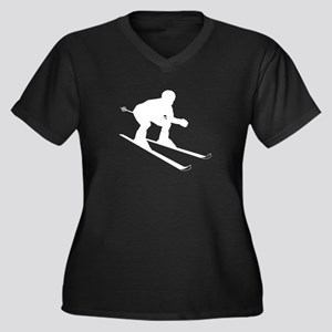 SKIER Women's Plus Size V-Neck Dark T-Shirt