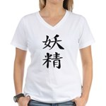 Fairy - Kanji Symbol Women's V-Neck T-Shirt