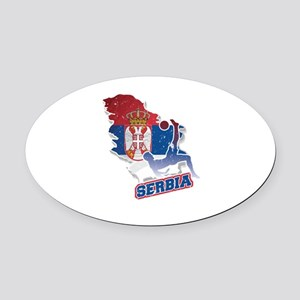 Football Worldcup Serbia Serbian S Oval Car Magnet
